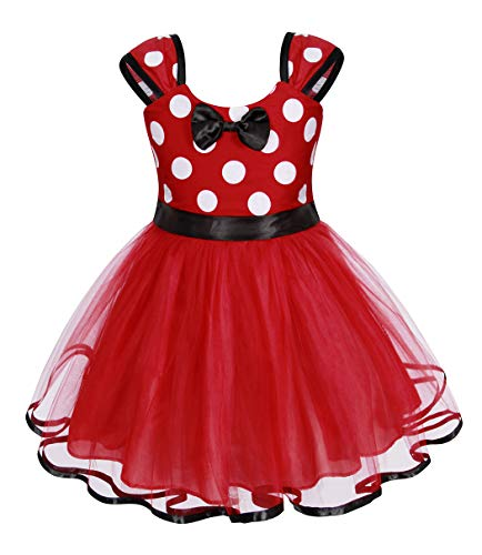 AmzBarley Kleider für Mädchen Kinder Kostüm Polka Dot Prinzessin Kleid Fancy Dress up Party Kleidung mit Maus Ohr Stirnband Halloween Cosplay Geburtstag Kleider Outfit