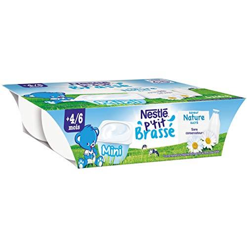 Nestlé Bébé P'tit Brassé Mini Nature Sucré - Laitage dès 4-6 mois - 6 x 60g - Pack de 8 ( 48 Laitages )