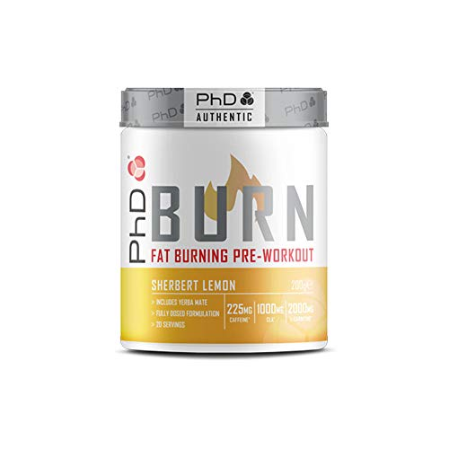 PhD Burn-Pre Workout Powder With Added Fat Burning Ingredients, For Explosive Fat Torching Workouts, Sherbet Lemon, 20 Servings, 400 g