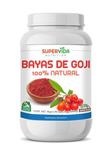 Bayas de Goji en polvo 90 Cápsulas Vegetales de 500 mg GOJI   SuperVida Nutrition - Suplementos 100% Naturales