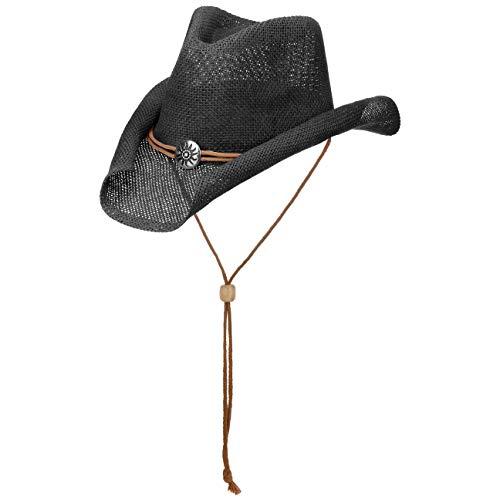 Lipodo Yeehaw Kinder Cowboyhut - Westernhut - Kinderhut aus Stroh (Papierstroh) - Sommerhut mit Kinnband - Strohhut Frühjahr/Sommer - Hut schwarz 53-55 cm