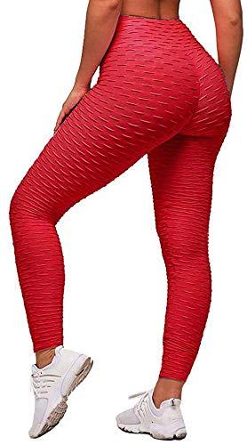 Memoryee Frauen Honeycomb Leggings geraffte Hintern heben hohe Taille Yogahosen schick mit Taschen Sport Bauch Kontrolle Gym/rot/XS