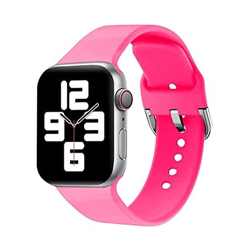 Ternzun Correa de silicona compatible con Apple Watch de 40 mm, 44 mm, 38 mm, 42 mm, pulsera deportiva para iWatch Series 3, 4, 5, 6 SE, 38 mm o 40 mm SM, rojo 3 rosa