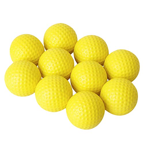 MOPOIN Golfbälle, 10 Stück Golfball aus PU-Schaumstoff, Schaumstoffball Übungsball für Drinnen und Draußen, Kinder, Haustiere, Bälle für Spaß (Gelb)