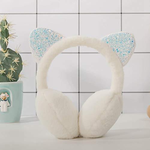 ZZYXiao Weiche flauschige Ohrenschutzkappe für Mädchen im Winter, Katzen-Design, Fell-Ohrenschützer, warm, Weiß
