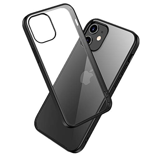 LAYJOY Funda para iPhone 12 Mini, Carcasa Ligera Silicona Negro Suave TPU Bumper y Transparente Duro PC Case Anti-Arañazos, Anti-Golpes Cover para iPhone 12 Mini de 5.4'' - Clear