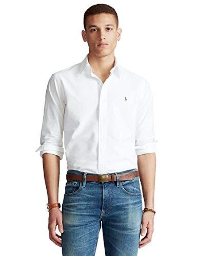 Ralph Lauren Herren Hemd Langarm Weiß, Weiß XL