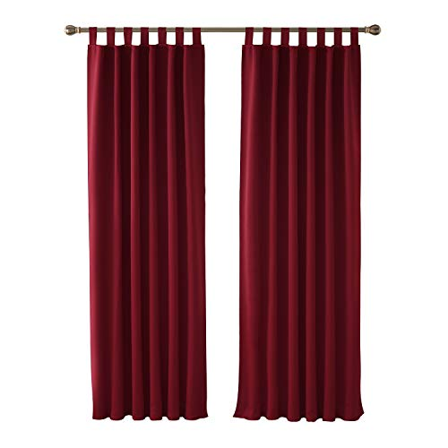 Deconovo Thermal Insulated Window Treatment Hand Made Curtains Tab Top Blackout Curtains for Livingroom 46 x 90 Inch Red 2 Panels