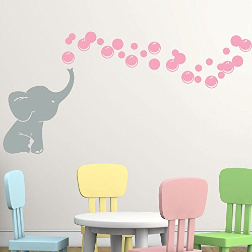 Elephant Bubbles Vinyl Wall Decal Custom, Choose Elephant and Bubble Color Makes a great baby shower gift, nursery room decor - Grey with pink
