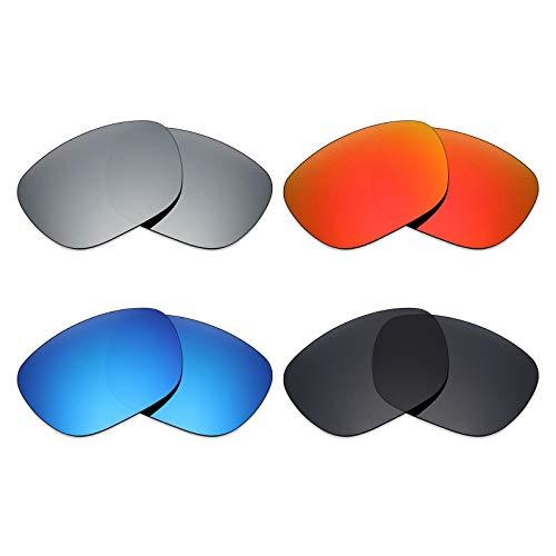 Mryok 4 pares de lentes polarizadas de repuesto para Arnette Fire Drill AN4143 Sunglass - Stealth Negro/Rojo fuego/Azul hielo/Plata Titanio