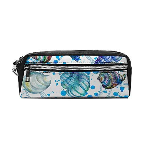 Stijlvolle Waterkleurige Soorten van Seashell PU Lederen Potlood Case Make-up Bag Cosmetische Tas Potlood Pouch met Rits Reizen Toilettas voor Vrouwen Meisjes