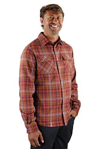 Club Ride Apparel Daniel Flannel Long Sleeve Shirt - Men's Snap Down Cycling Top - Auburn Red Plaid - Large