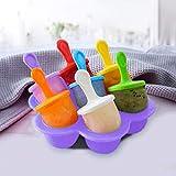 Knytju Mini Molde de Silicona con 7 recipientes de Comida para bebés de Cubitos de Hielo empotrados con palitos de plástico de Colores. Bandeja para Cubitos de Hielo con Revestimiento Antiadherente