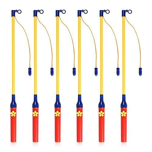 Ziigo 6er-Pack Laternenstab mit LED, Elektronischer Laternenstab 40cm, Lampion Stab für St. Martin, Kinderpartys, Laternenumzüge, Kostümpartys, Halloween, Weihnachten und Mehr (Lampion Stab)