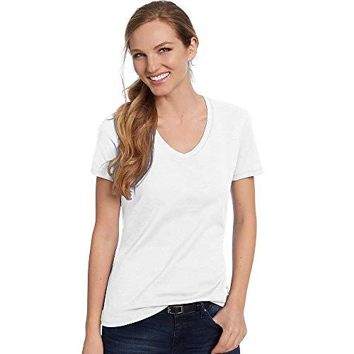Hanes Womens Nano-T V-Neck T-Shirt White