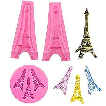 2Pcs/Set 3D Paris Eiffel Tower Cake Fondant Mold Silicone Gum Paste Sugar Craft Mold for Cake Cupcake Decorating Polymer Clay Epoxy Resin Candle Mould