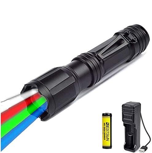 Torcia LED con rossa verde blu bianca luce, torcia da caccia a LED multicolore Torcia tattica zoomabile Torce a LED RGBW ad alta potenza per visione notturna Pesca astronomica (batteria inclusa)