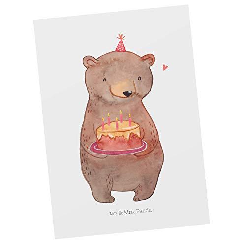 Mr. & Mrs. Panda Cartolina Postale, Carta Regalo, Cartolina Postale Torta all'orso - Colore Bianco