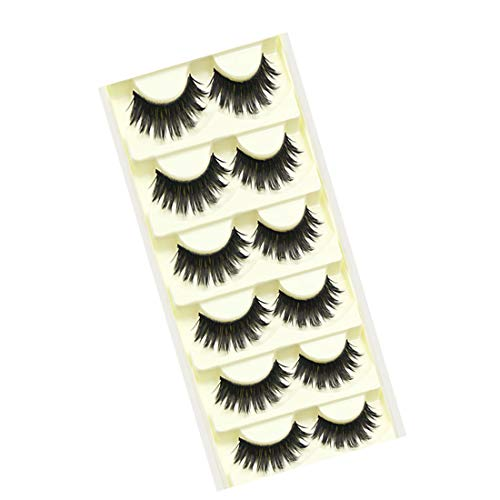 Babysbreath 5 paires de cils faux Natural Soft Fabrication artisanale Extension Volumineux Multi couches Long épais Black Fake Lashes