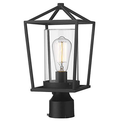 Emliviar Outdoor Light Post Lantern, 1-Light Exterior Post Light in Black Finish with Clear Glass, 20065P BK