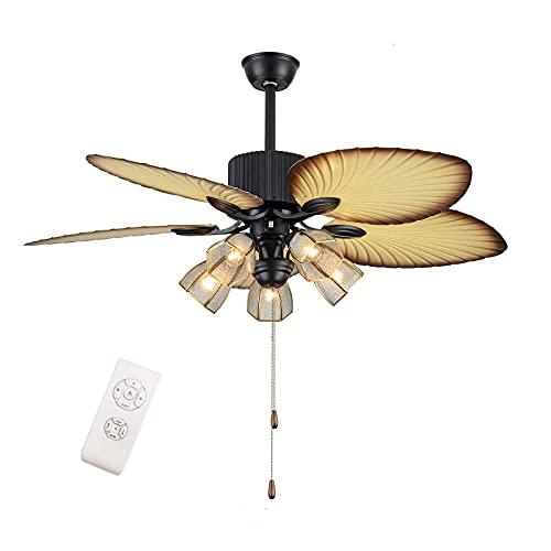 Beeki Ventilador de techo con luces de ventilador de techo de palma ligera y remota 3 Velocidad remota de lámparas premium 5 lámparas de vidrio 5 cuchillas de hoja de palma talladas a mano, fans de ar