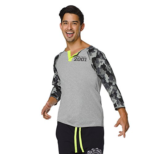 Zumba Fitness United by Passion Baseball tee Camiseta, Hombre, Gris, XS