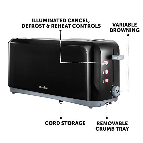 Breville 4-Slice Toaster, 2 Long Slots, High-Lift and Variable Width, Black [VTT233]