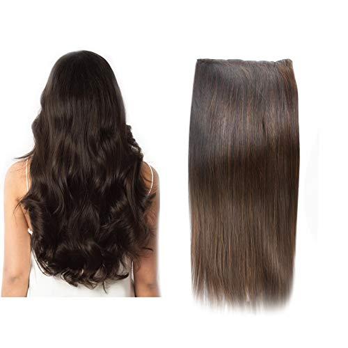 (35cm-55cm) Clip In Extensions 10 Teiliges SET 120g 100% Remy Echthaar für Komplette Haarverlängerung glatt Haarteile (2#, Dunkelbraun, 40cm)