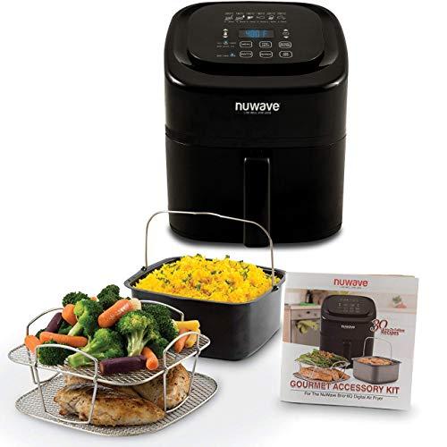 NUWAVE BRIO 6-Quart Digital Air Fryer including non-stick baking pan and stainless-steel cooking rack (6-Quart + Gourmet Kit)