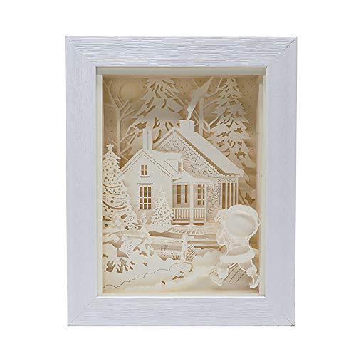 Papercut-Lichtkartons, 3D-Papierschnitzelampe, Schattenlampe Nachtlicht Papier Lichtkiste, Dekor Licht Der Schattenbox 3D, Geburtstag Hochzeitsgeschenk
