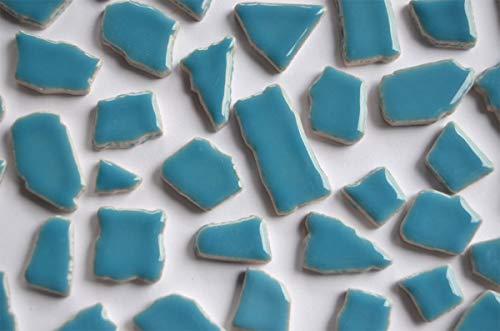 Bazare Masud e.K. 100 Gramm (ca. 45 Stück) Bruchmosaik aus Keramik glänzend 1-3cm Hellblau Bruchfliesen Mosaikbruch Bruchsteine (4,49 €/100 g)