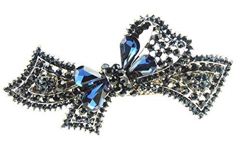 Glamour Girlz Barrette à cheveux vintage en métal argenté foncé avec nœud en ruban bleu