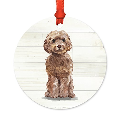 Andaz Press Animal Pet Dog Metal Christmas Ornament, Champagne Tan Cockapoo with Santa Hat, 1-Pack, Includes Ribbon and Gift Bag