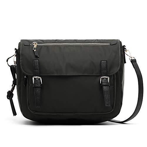 MISAKO Bolso Mediano de Mujer OFFILA | Bolso de Nylon práctico con tira bandolera para diario - Casual | Varios compartimentos y bolsillos - 25x30x12cm