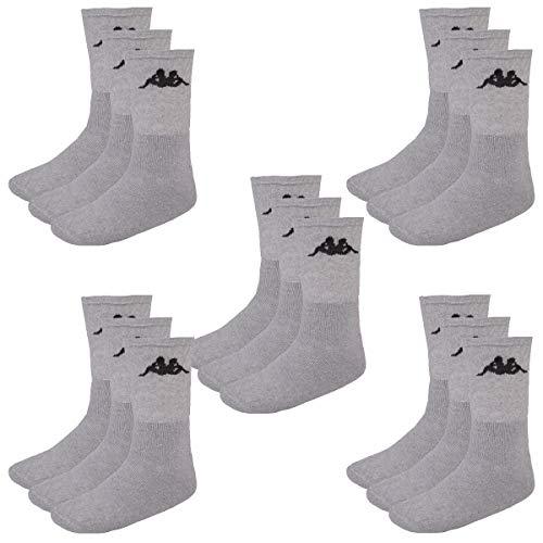 Kappa 15 Paar SONOTU 3 Sportsocken Gr. 35-46 Unisex Tennissocken, Socken und Strümpfe:39-42, Farbe:032 - grey melange