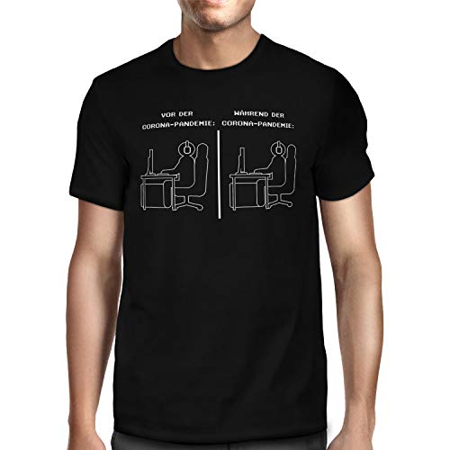 Fashionalarm Herren T-Shirt - Gamer Corona-Pandemie | Fun Shirt mit Spruch als Geschenk-Idee Hamsterkäufe 2020 COVID-19 Corona-Satire Virus, Schwarz S