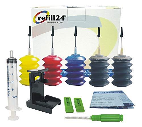 Kit de Recarga para Cartuchos de Tinta Canon Universal 545, 546, 510,511,512,513 Negro y Color, Tinta Incluye Clip y Accesorios