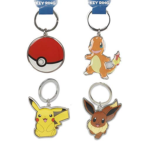 Total 4 ct Metal Keychains Key Rings for Birthday Gifts or Party Favors Travel Luggage Backpack Tag etc (Pokemon: Pikachu Charmander Eevee Pokeball)