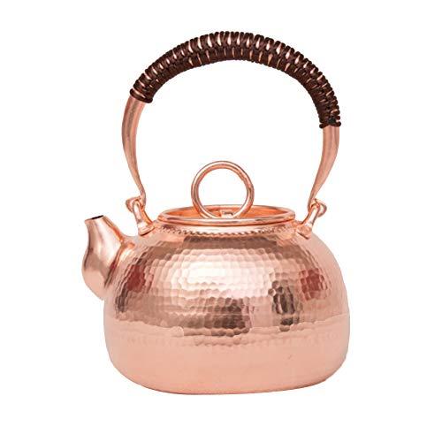 Kupfer Teekanne Gehämmert Teekocher Herd Mit Henkel Antiker Reiner Kupferguss Wasserkocher Für Geschenk Und Haushalts,Büro,1.4L