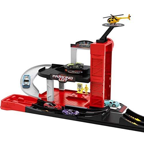 El juguete favorito del bebé, gran regalo para los Juguete de coche de carril Juguete tridimensional Aleación de aleación Coche Sistema de pista Multi-Store Estacionamiento Juguete Juguete Regalo para