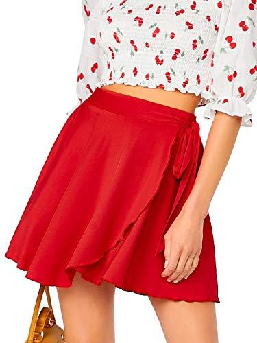 SheIn Women's Casual Elastic Waist Self Belted Overlap Skater Flared Wrap Short Skirt Red X-Large
