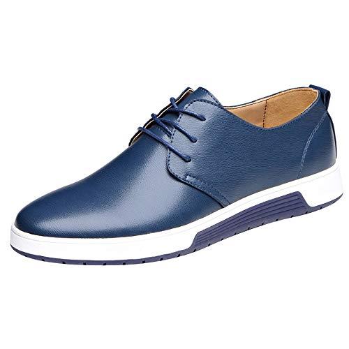 Celucke Herren Anzugschuhe Oxford, Lederschuhe Derby Schuhe Business Casual Budapester Schnürschuhe Khaki, Kaffee, Braun EU40-48