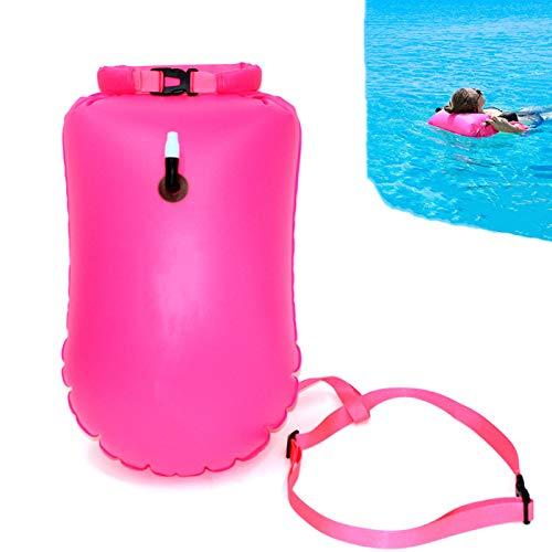GEFUHONG Boya de natación de 20 litros, flotador y bolsa seca para nadadores de agua abierta y triatletas flotador ligero y visible para entrenamiento seguro de natación (rosa)