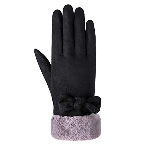 Justdolife Frauen-Handschuh-Veloursleder-Nette Bowknot-Winter-warme Handschuh-Touch Screen Handschuhe