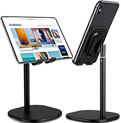 BESP Phone Stand, Adjustable Mobile Phone Desk Holder Muti-Angle, Phone Dock Compatible with iPhone 11 Pro XS Max XR X 8 7 Plus Samsung Galaxy S10 S9 & Tablets (Black02) by BESP