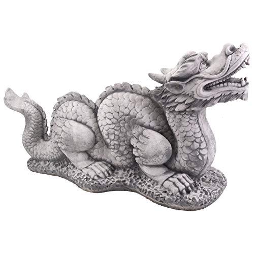 gartendekoparadies.de Große Steinfigur chinesischer Drachen Long aus Steinguss frostfest