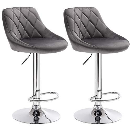 WOLTU BH138dgr-2 Barhocker Tresenhocker, gut gepolsterte Sitzfläche aus Samt, Höhenverstellbar, Drehbar, 2 x Hocker, Dunkelgrau