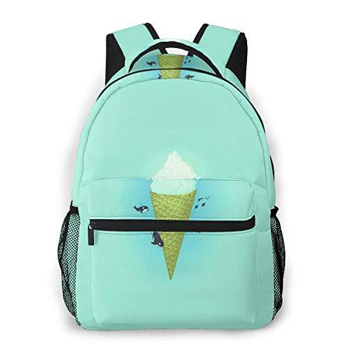 Lawenp Mochila Unisex de Moda Killer Whale Ice Cream Iceberg Bookbag Ligero portátil para Viajes Escolares Acampar al Aire Libre