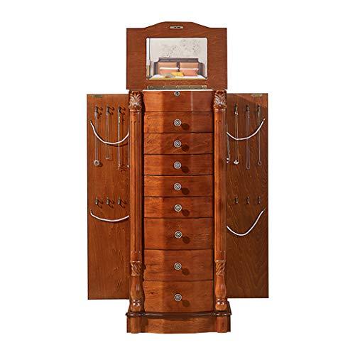 EVEN Armario para Joyas, estantería de gabinete de Almacenamiento de Mediados de Siglo con Puertas Dobles, gabinete de Entrada, marrón rústico