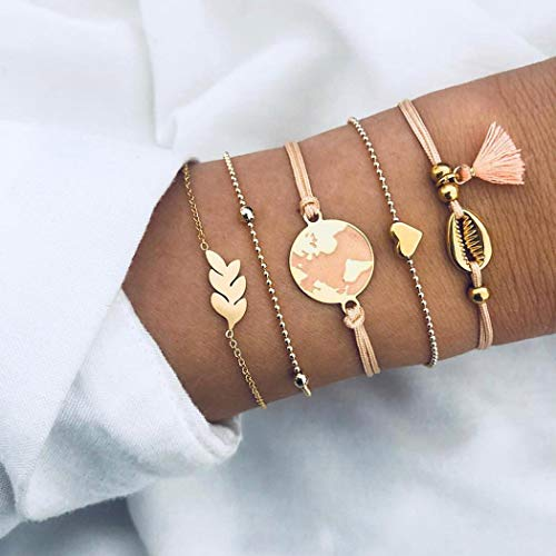 Arimy Boho - Juego de 5 pulseras con cuentas doradas, diseño de mapa, color rosa